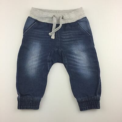 Boys size 00, Target, blue soft denim pants, elasticated, GUC