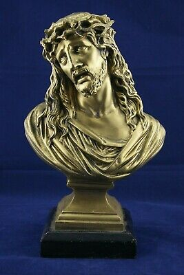 † Jesus Christ Gilted Figure Bust Holy Face Crown Of Thorns Ecce Homo France †