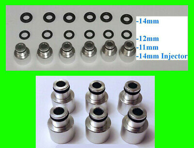 x6 EV14 14mm to 11mm 12mm 14mm Fuel Rail Injector Adapter Top Hat 48mm 60mm EV1
