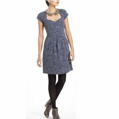 cf5016891c7f Deletta Anthropologie Knit Dress Small Cap Sleeve Cut Out Back Pockets Gray  Blue