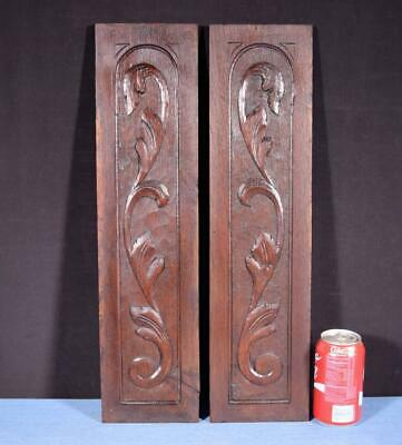 *Pair of Antique Solid Chestnut Wood Panels Hand Carved Salvage