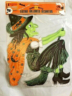 Vintage Halloween WITCH ON BROOM Embossed Die Cut Cutout Radko Shiny Brite