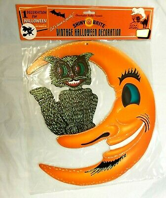 Vintage Halloween BLACK CAT & CRESCENT MOON Embossed Die Cut Cutout Radko