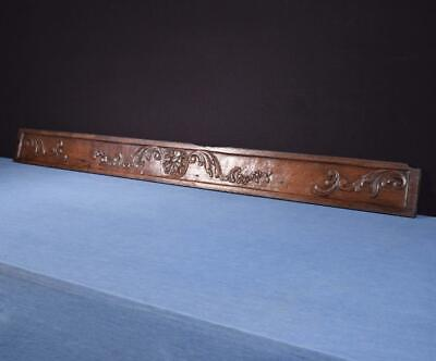 """*57"""" French Antique Hand Carved Architectural Panel Solid Oak Wood Salvage"""