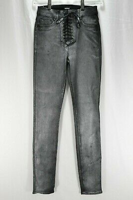 4c281f56708 Hudson Bullocks High Rise Lace-Up Skinny Jeans In Black Silver Women's Size  24