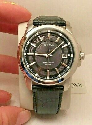New Bulova Men's Stainless Steel Black Lthr Strap Precisionist Watch 96B158-H56