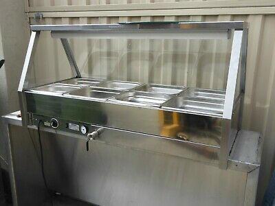 Bain Marie Roband 8 Pan Including Pans 2 Overhead lights, No Rear Doors HOT