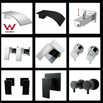 Wall Basin SPA Bath tub Spout Shower Twin Taps Mixer Tap Hot Cold Chrome Black