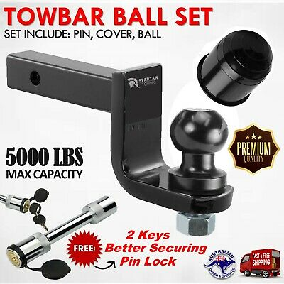 Towbar Tongue Ball Mount Hitch Heavy Duty Tow Bar Trailer Towball Hitch Pin Blk
