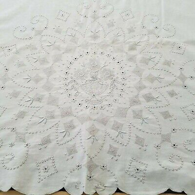 """Vintage Antique Linen Embroidered Flat Sheet Flowers in Urn 100"""" x 84"""""""
