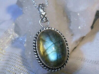 ENCHANTING EARTH NATURAL LABRADORITE 925 STERLING SILVER OVERLAY NECKLACE Gift