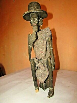 Antique wooden sculpture, African scary man,terrifying statue,wooden statue