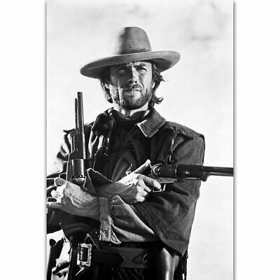 H-1911 Clint Eastwood Classic Movie Film Character With Gun Wall Silk Poster