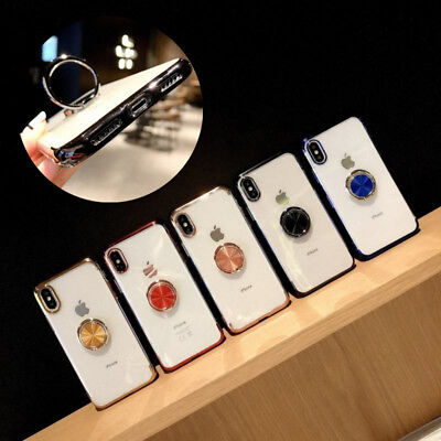 Magnetic Plating Clear Soft Case Cover With Ring Holder For iPhone XS Max XR 7 8