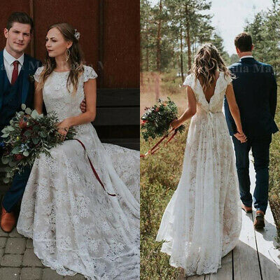 8a73a581c20 Vintage Country Lace Wedding Dresses Cap Sleeves Open Back Bohemian Bridal  Gowns