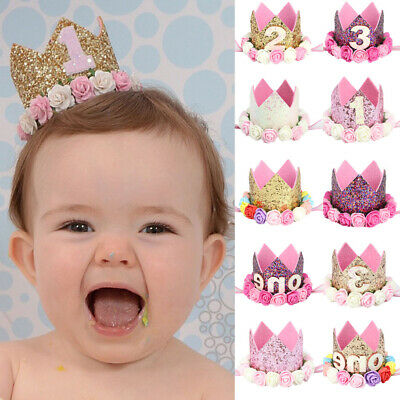 Baby Infant Hair Band Birthday Party Sequins Rose Floral Digital Crown Headband