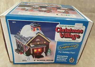 Vintage Wee Crafts Kit Christmas Village 6' School, lights up, New,unpainted,