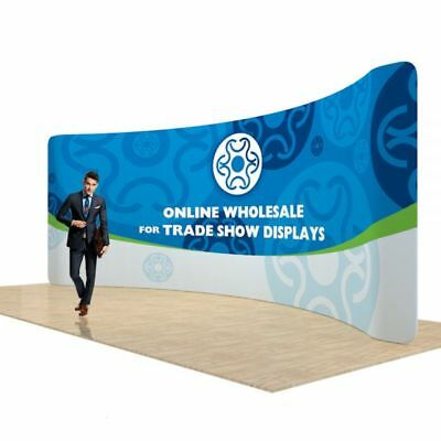 17ft Curved Back Wall Fabric Tension Display with Single Sided Graphic