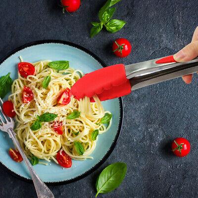 Silicone Kitchen Cooking Salad Serving BBQ Tongs Stainless-Steel Handle Utensil