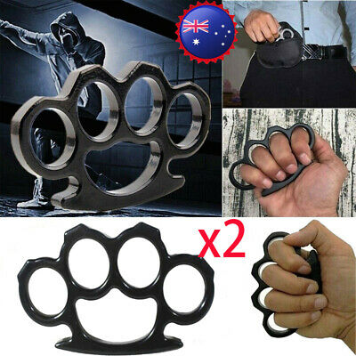 2x Knuckles Ring Hand Four Finger Portable Self-Defense Dusters EDC Tool Alloy
