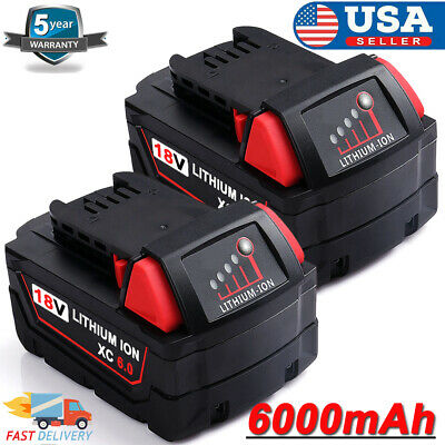 2xFor Milwaukee M18 XC 6.0 Extended Capacity 18V LITHIUM Battery Pack 48-11-1852