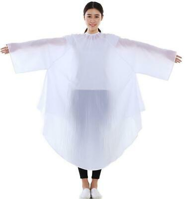 Salon Client Hair Cutting Cape Gown Barber Haircut Cape with Sleeves White