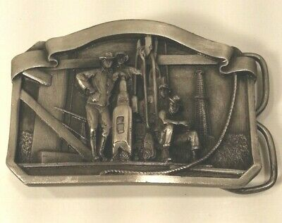 Belt Buckle - Hughes Tool Division - Pewter - Simplex Bits - Oil Drilling