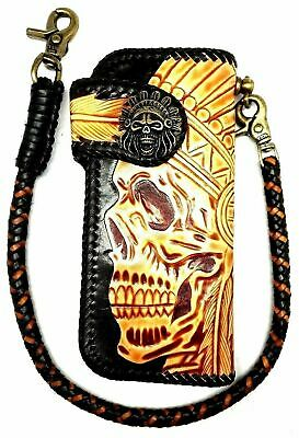 7d1125784b81a Biker Chain Wallet motorcycle trucker tribal Chief tooled engraved Leather