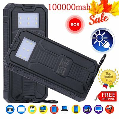 Waterproof 100000mAh 2USB Solar Power Bank Pack Battery Charger for Cell Phone