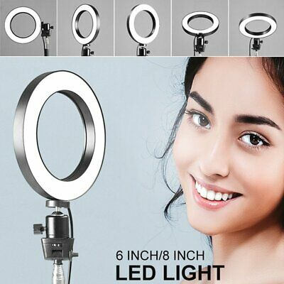 6'' LED SMD Ring Light Kit w/Stand Dimmable 5500K For Camera Makeup Live Selfie
