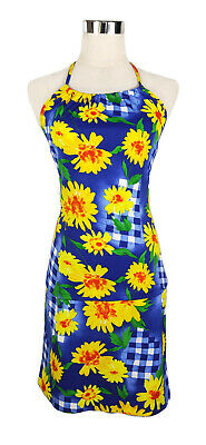 Vintage Top/Skirt Set - Retro Check Floral Halter Yellow Blue 1970s Style - 6/8