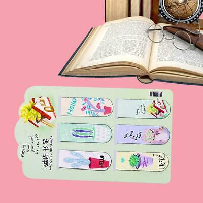 6pcs /Set Magnetic Bookmarks Page Stationery Fresh Cactus Books Marker High qual