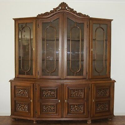 VINTAGE Large Buffet and Hutch, French Style Ornate Display Cabinet