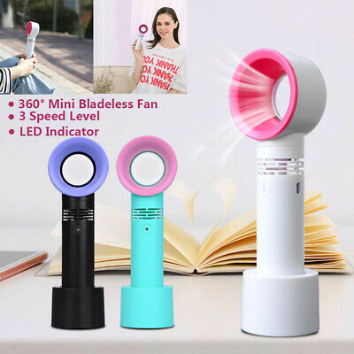 360 Degrees Portable Mini Bladeless Fan Hand Held Cooler USB Cable No Leaf Handy