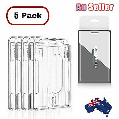 5Pcs Vertical Hard Plastic Badge Holder Double Side Card ID Multi Transparent AU