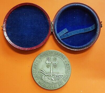 1890 France INSTITUTE AGRICOLE DE BEAUVAIS 42mm silvered Bronze IN ORIGINAL BOX