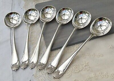 WARINGS SOUP SPOON x6 - QUEEN ANNE GEORGIAN SILVER PLATE EPNS A1 ANTIQUE CUTLERY