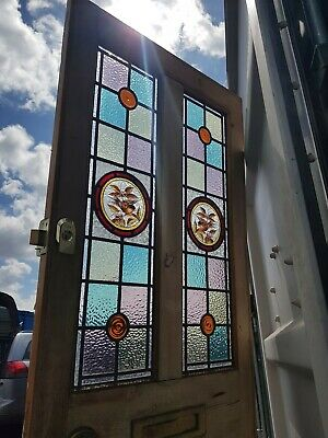 Antique Reclaimed victorian internal interior front door leaded stained glass