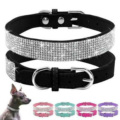 Crystal Diamante Pet Cat Dog Collars Fancy Bling Rhinestone Dog Necklace.AU Sale