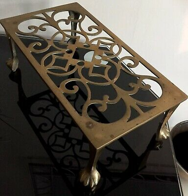 Large Antique Victorian Solid Brass Oblong Trivet Pot Stand Ball and Claw Feet
