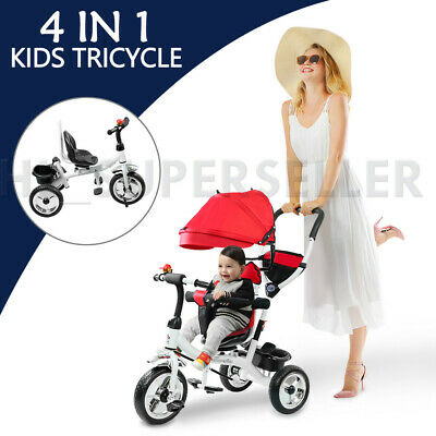 Foldable 4 In 1 Baby Kid Tricycle Bike Toddler Trike Ride-On Stroller Canopy Red