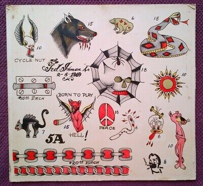 TED INMAN TATTOO LEGEND - ORIGINAL VINTAGE 1960s HAND PAINTED TATTOO FLASH SHEET