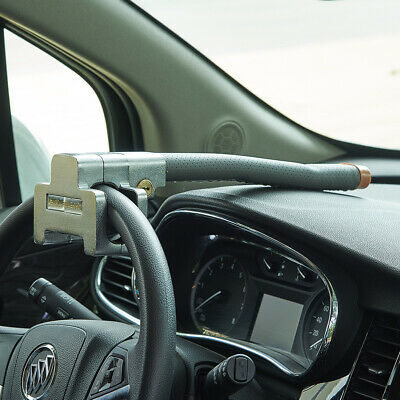Anti-Theft Clamp Auto Van Car Steering Wheel Lock Security Grey Leather