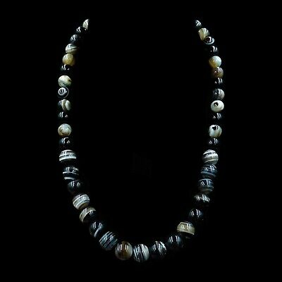 """Antique Victorian Banded Bullseye Agate Beaded Necklace Silver Fastening 20"""""""