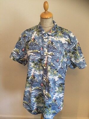 b4acdcc2 1940S 1950S STYLE palm Tree Hawaiian Shirt Size M chest 42 - £6.99 ...