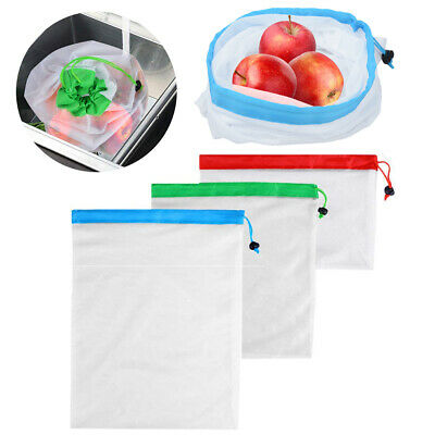 15Pcs Eco Friendly Reusable Mesh Produce Bags Superior Double-Stitched Strength