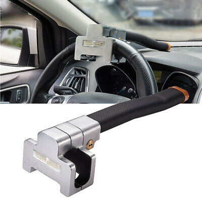 T-type Van Car Steering Wheel Lock Clamp Metal Security Anti-Theft Black Leather