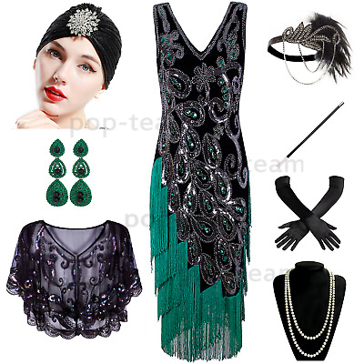 a875b750f8ee Vintage 1920s Flapper Dress Gatsby Wedding Party Layered Tassel Cocktail  Dress