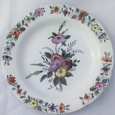 French Pearlware Dessert Plate Printed Hand Coloured Floral Sprays Antique 19thC