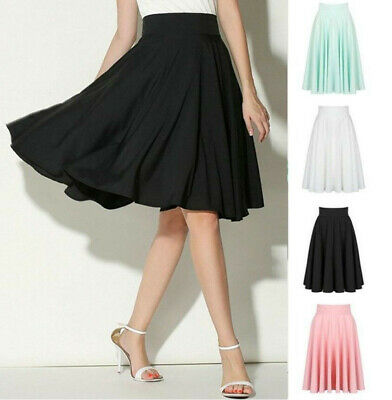 Fashion Women Stretch High Waist Skater Flared Pleated Swing Long Skirt Dress CA
